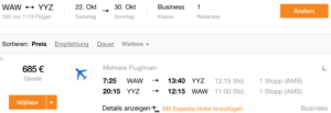 WAW-YYZ @685€ Business