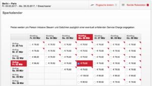 Beispiel für die flexible Suche Berlin - Paris bei Airberlin