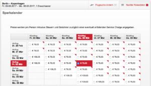 Beispiel für die flexible Suche Berlin - Kopenhagen bei Airberlin