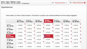 Beispiel für die flexible Suche Berlin - Mailand bei Airberlin
