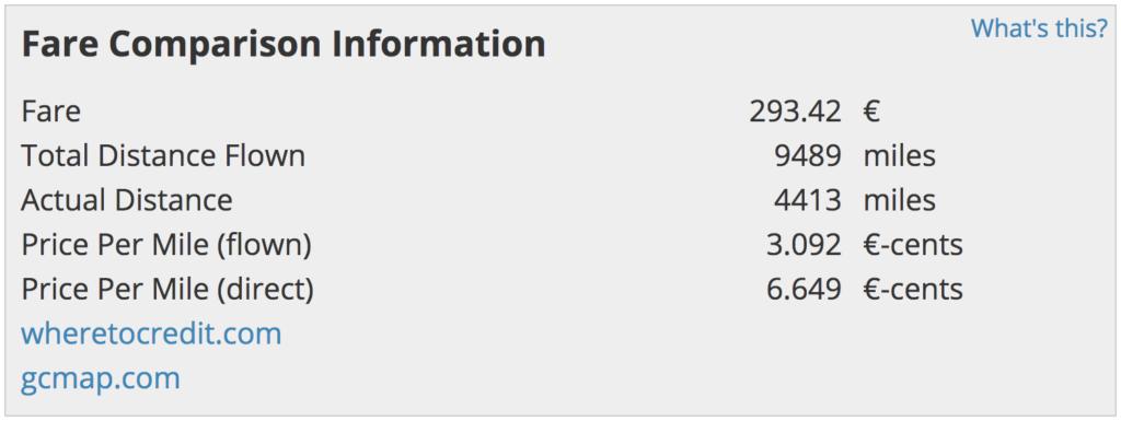 Fare Comparison Information Info Box