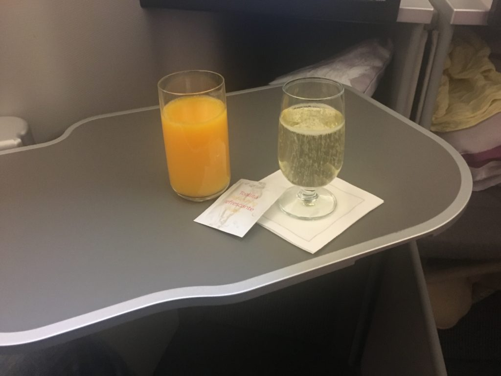 Iberia Business Class Welcome Drink