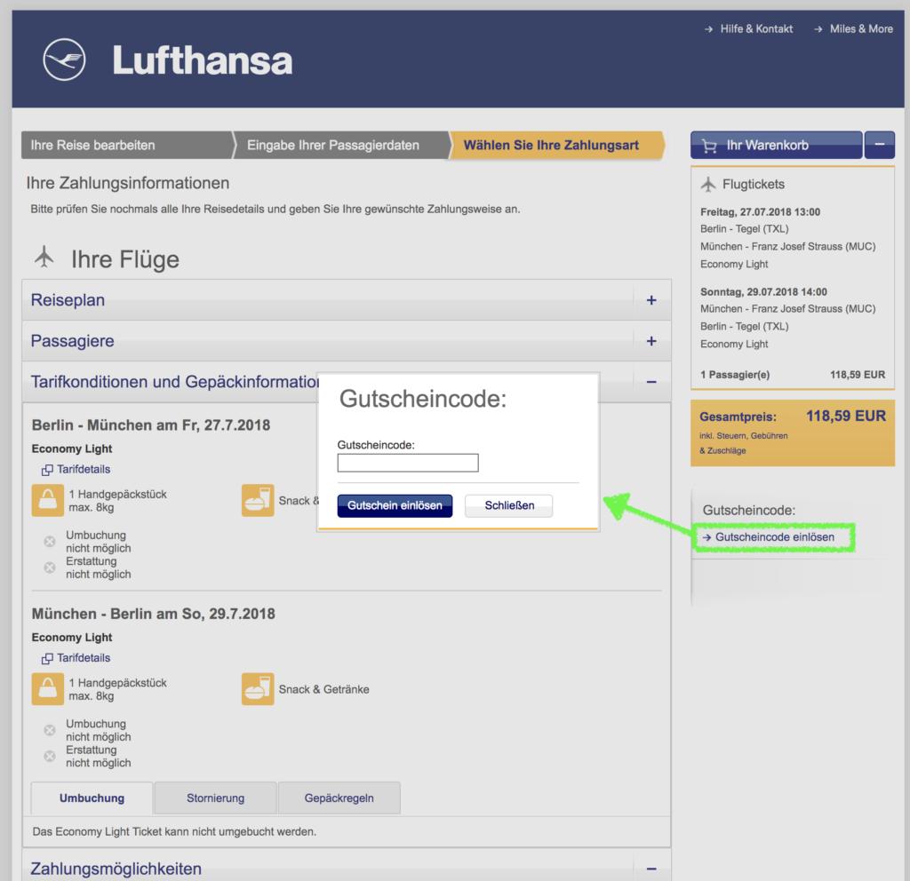 Lufthansa Gutschein einlösen