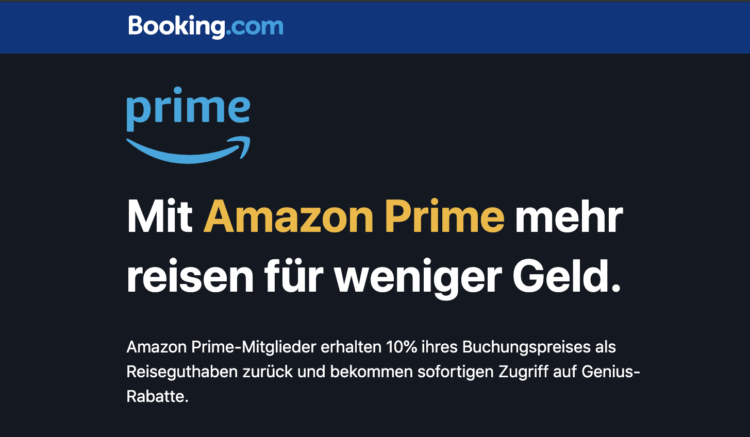 Booking.com mit Amazon Prime